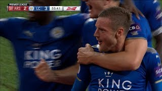 Jamie Vardy's header makes it 3-2 for Leicester over Arsenal