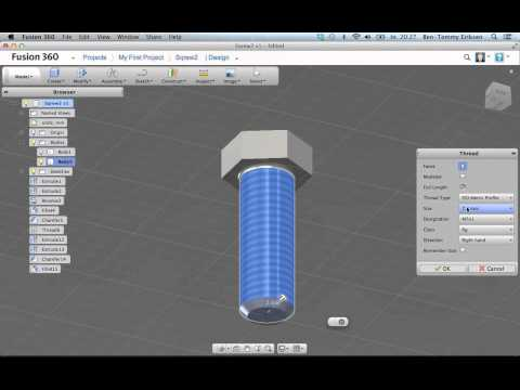 Autodesk Fusion 360 tutorial: screw with threads - YouTube