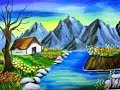 How to paint nature scenery with mountain | Acrylic painting for beginners