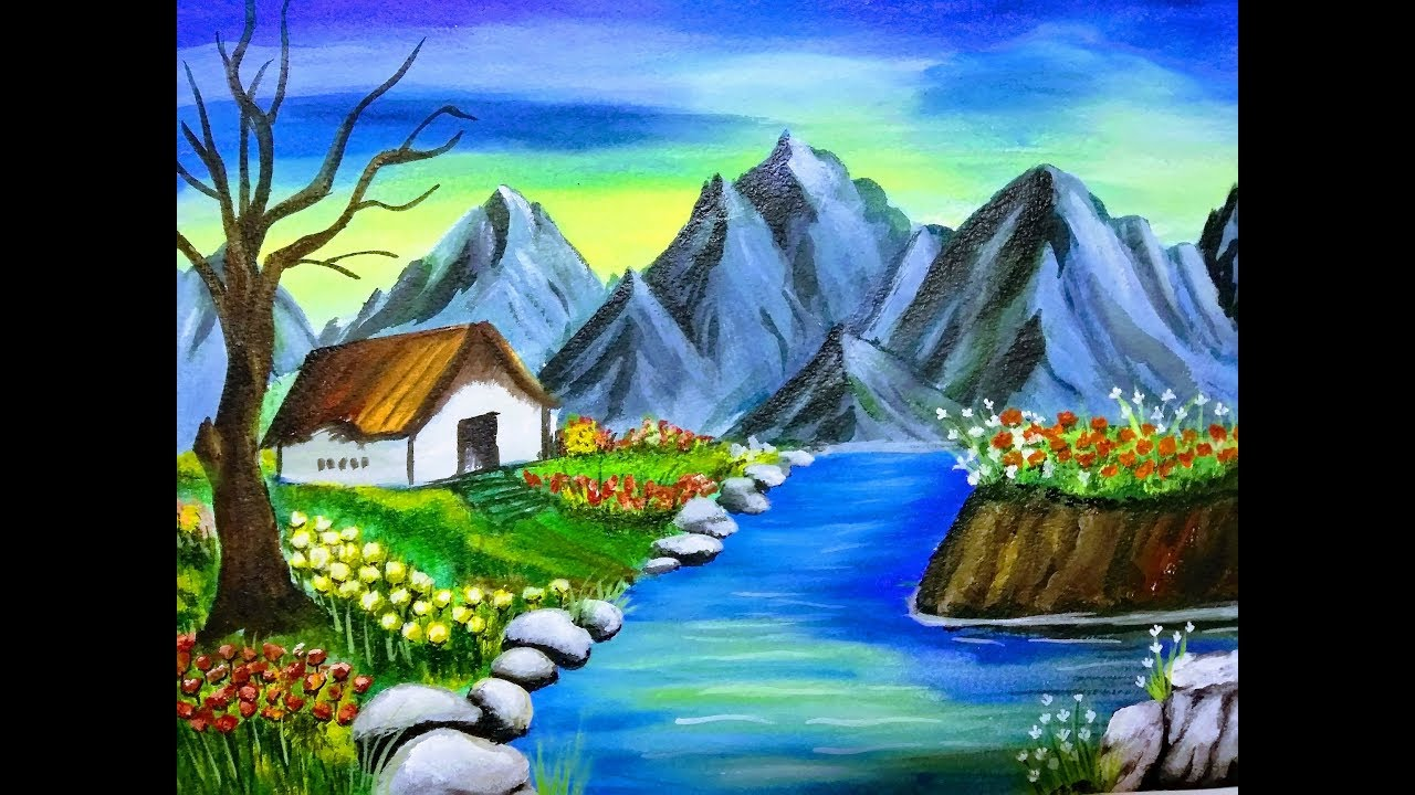 How To Paint Nature Scenery With Mountain