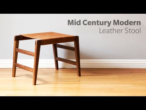 Mid Century Modern Stool with Leather Seat - Woodworking