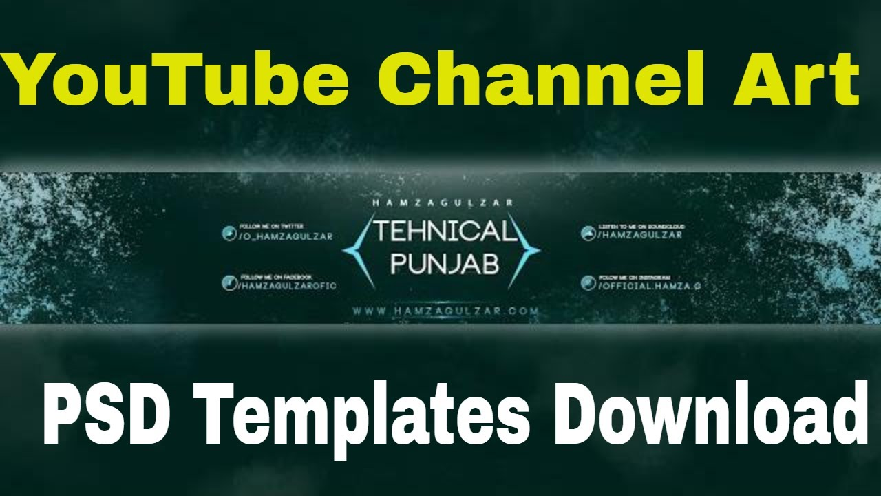 Youtube Channel Art Template Psd Free Download Youtube