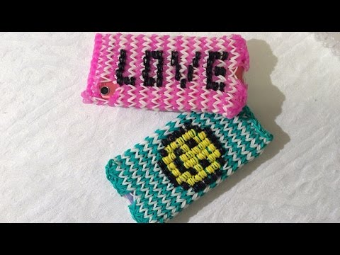 Rainbow Loom Iphone/Ipod hoesje met charger hole, Smiley or letters, Deel 1 (English subtitles)