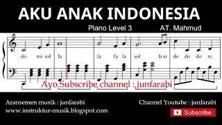 notasi balok aku anak indonesia - tutorial piano tingkat 3 - not lagu anak indonesia - instrumental