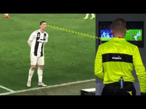 Cristiano Ronaldo Sneaks A Peek From Behind To See What The VAR Response Will Be