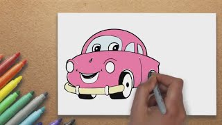 How to Draw Cartoon Car for Young Artist  | Massive Kidszone