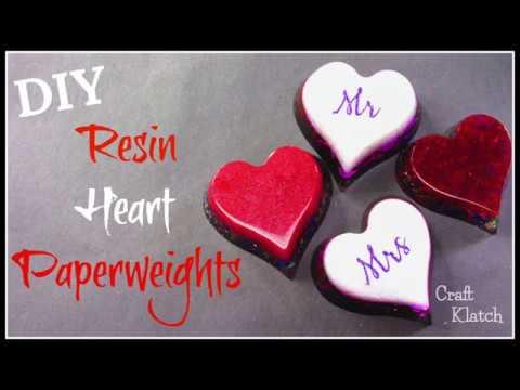 Resin Heart Paperweights | Resin Crafts | Craft Klatch