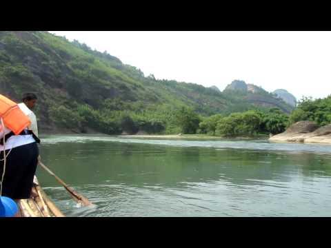 Bamboo Rafting in River Through Longhushan Mountains. Jiangxi, China.