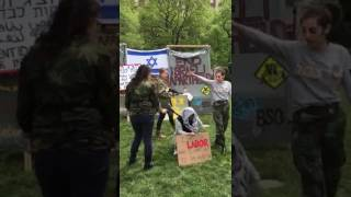 Antisemites at Columbia having a demonstration of a mock Israeli checkpoint