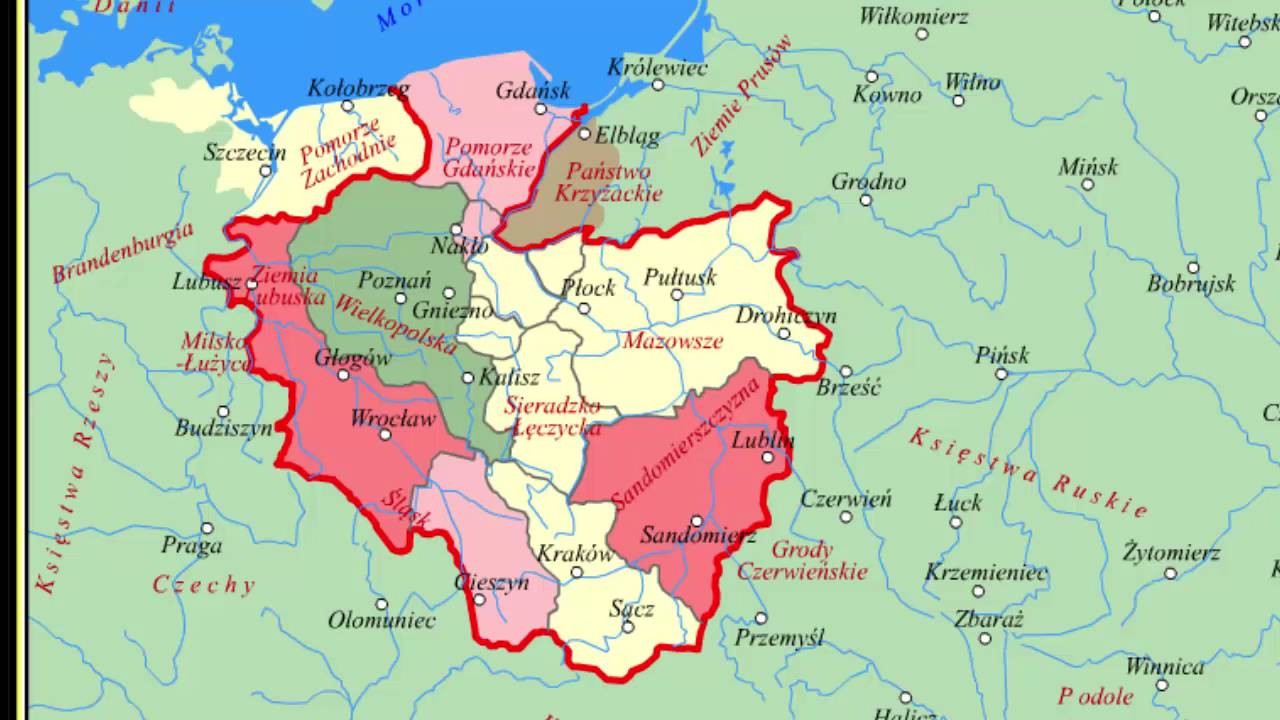 Mapy Polski Za Czasow Piastow I Jagiellonow Youtube