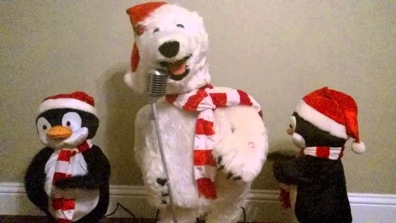 Gemmy christmas 3 piece animated singing dancing band for Animated polar bear christmas decoration