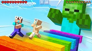 ESCAPE THE GIANT ZOMBIE in MINECRAFT PARKOUR!
