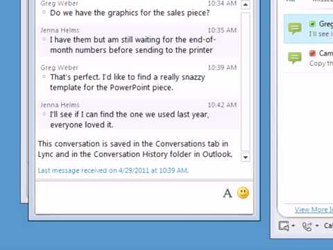 Lync 2010 | Viewing conversation history with Outlook 2010 - YouTube