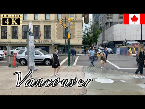 🇨🇦Vancouver Rainy Walk - Downtown -【4K 60fps】