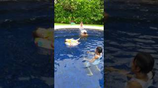 Cute child drowned in the pool