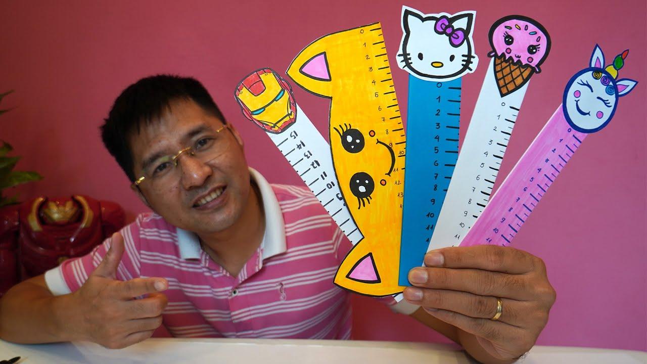 100% Thước Kẻ Giấy Cho Bé Bún Cực Cute – Làm Dụng Cụ Học Bằng Giấy – How to Make Paper Ruler