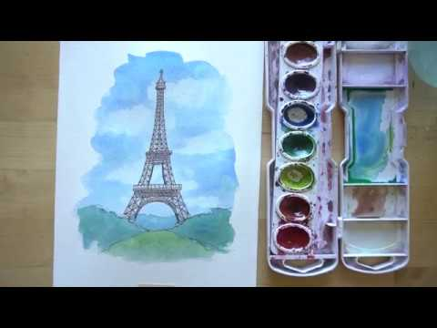 How To Draw And Paint The Eiffel Tower With Ink And Watercolor Youtube