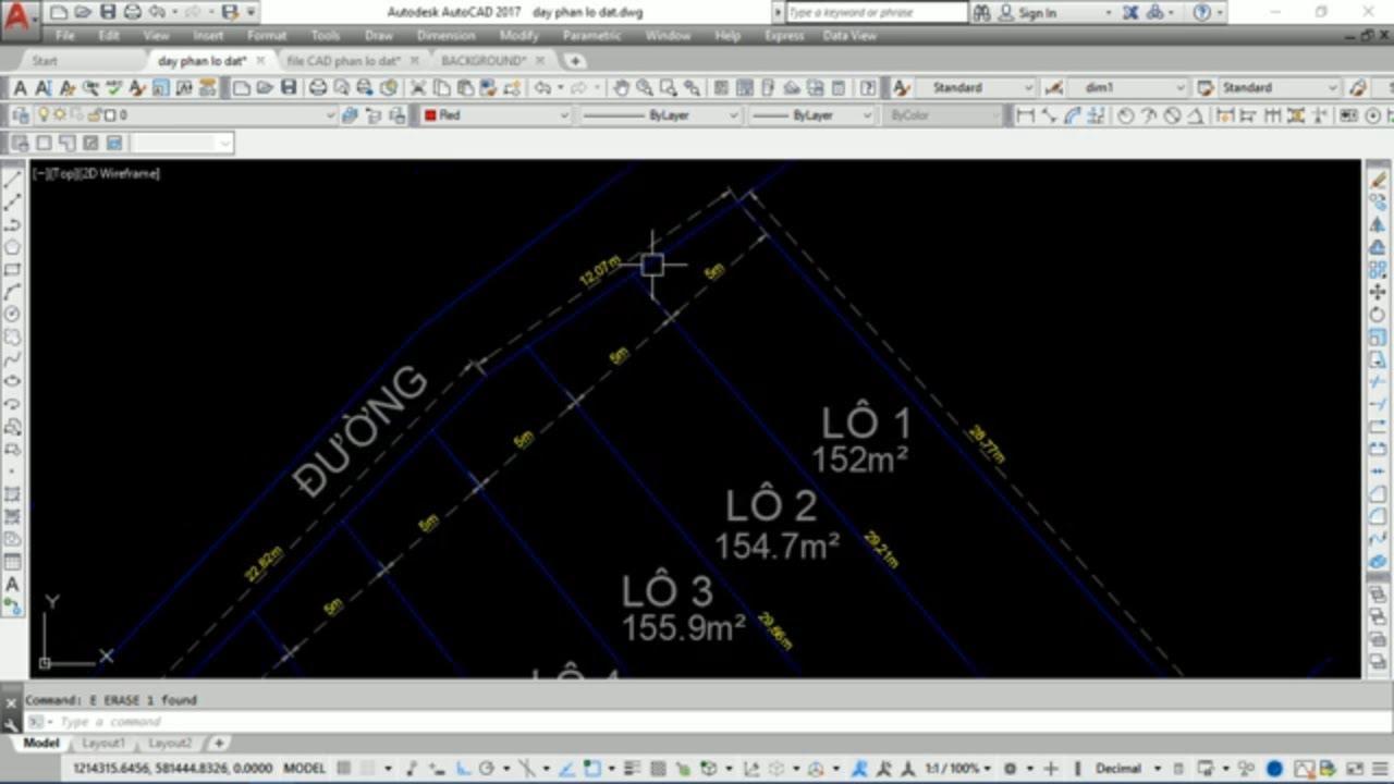 Dạy vẽ AutoCAD phân chia lô đất – bài 3