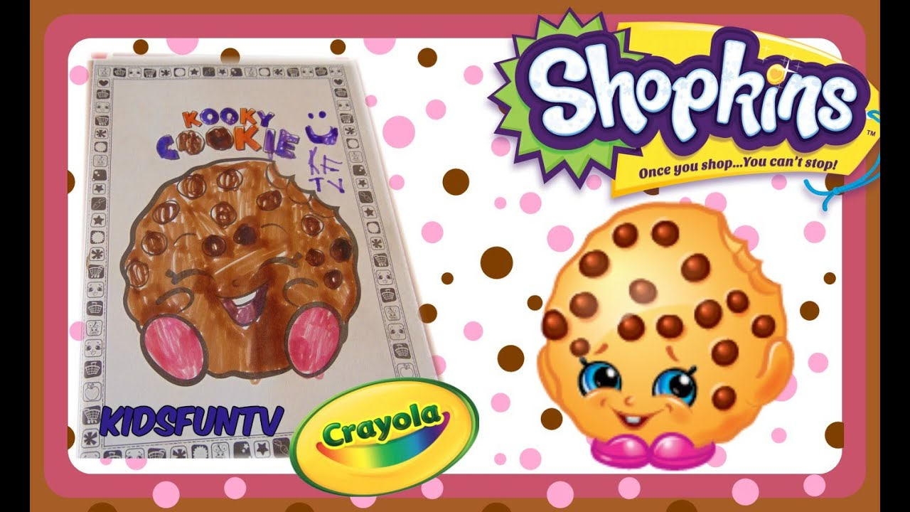 shopkins coloring book crayola speed color of kooky cookie