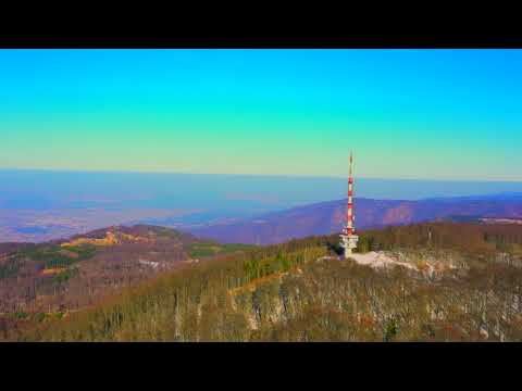 FLYING OVER SLO - CRO BORDER 4K - Telecommunication tower - AMAZING LANDSCAPE