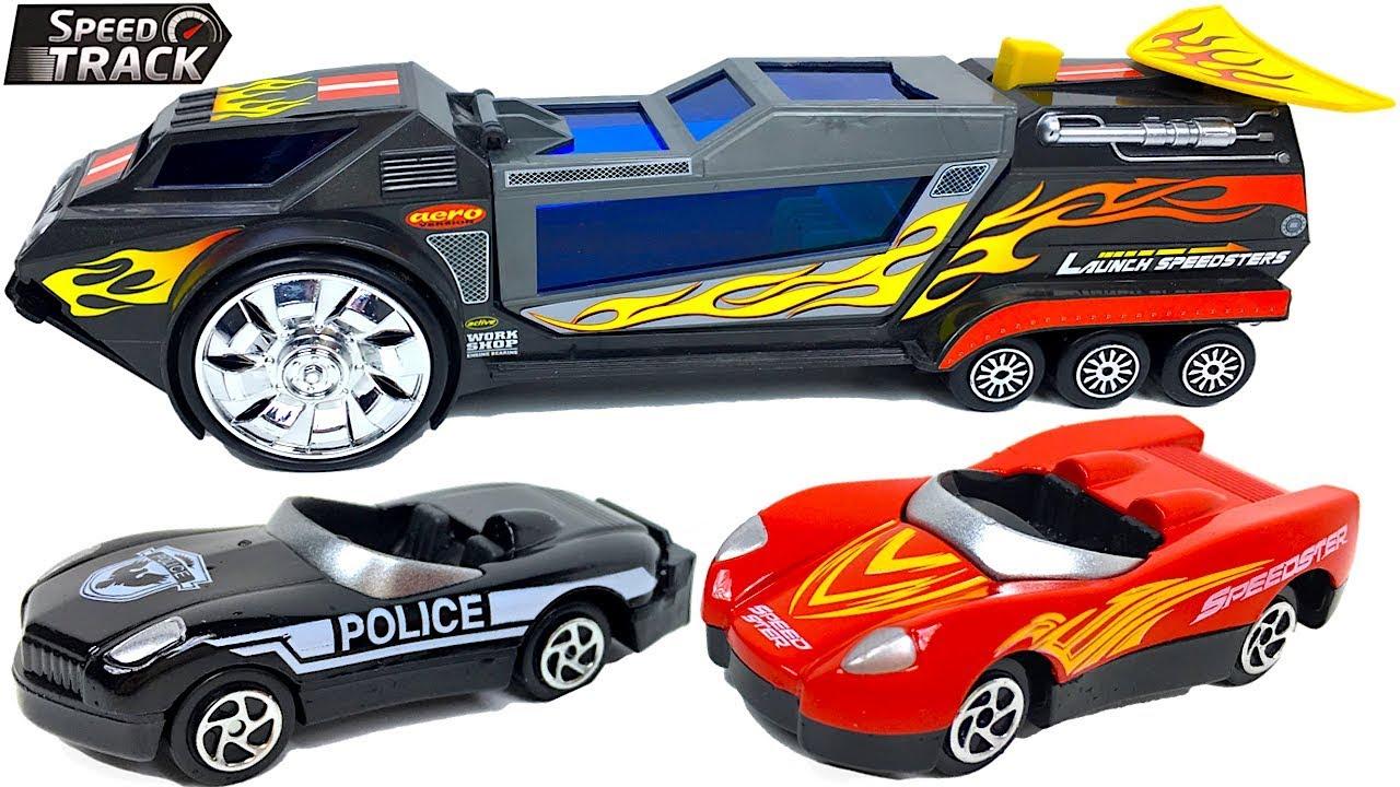 El Track En Y Descapotables Saltos Speed Con Coche Coches De Agua Lanzador Policía Camión 3AR5jc4qSL