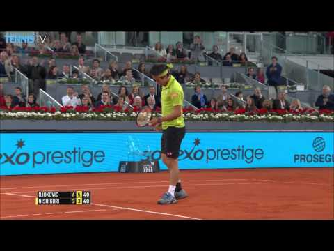 2016 Mutua Madrid Open - Amazing point from Djokovic v Nishikori semi final