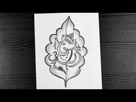 How To Draw Leaf Ganesha How To Draw Ganesh Ji Lord Ganesh Pencil Drawing Pencil Drawing Youtube