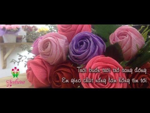 Hướng dẫn làm hoa hồng xoắn bằng giấy nhún- Loại cánh to-  Made by Sakura