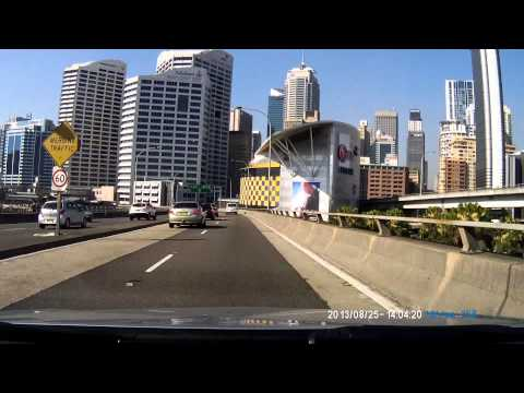 Dash cam downtown Sydney west approach FULL HD