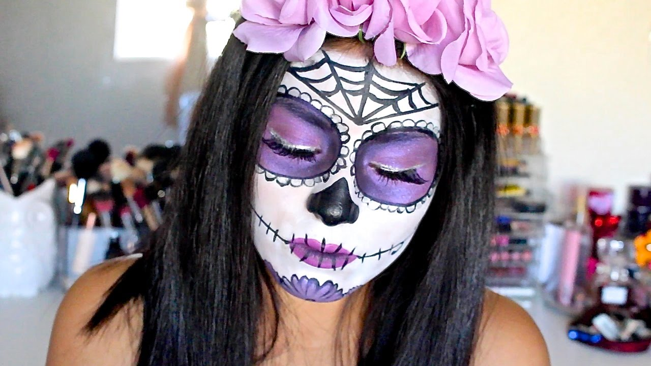 dia de los muertos makeup tutorial purple sugar skull youtube