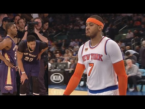 Carmelo Anthony Kyle O'Quinn Ejected! Derrick Rose Missing! Pelicans vs Knicks