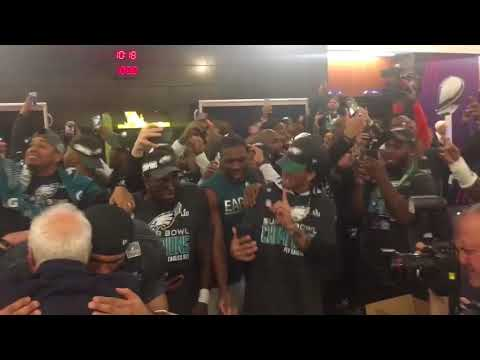 Philadelphia Eagles party to Meek Mill - Dreams & Nightmares in locker room after winning Super Bowl