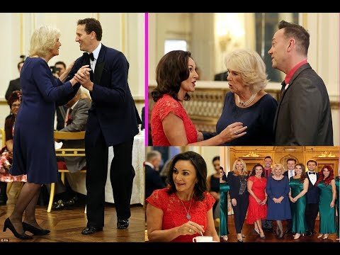 Camilla welcomes stars of Strictly to Buckingham Palace and even shows off her waltzing skills