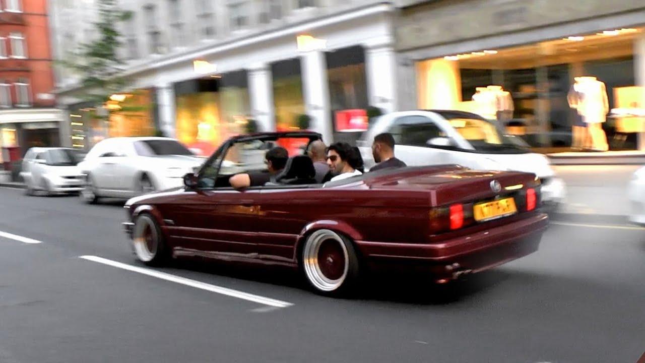 Slammed BMW E30  CRAZY Wheelspins  Chase through London  YouTube