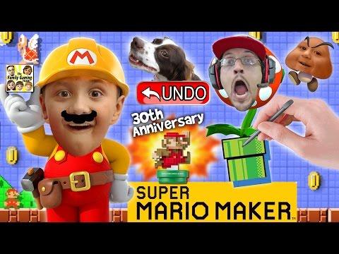 Lets Play SUPER MARIO MAKER!  Derpy Mushrooms + Real Life Undo Button? w/ AMIIBO Unboxing (FGTEEV)