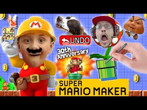 Lets Play SUPER MARIO MAKER! Derpy Mushrooms + Real Life Undo Button? w/ AMIIBO Unboxing (FGTEEV)