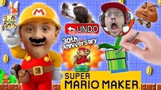 Lets Play Super Mario Maker! Derpy Mushrooms + Real Life Undo Button? W/ Amiibo Unboxing  Fgteev
