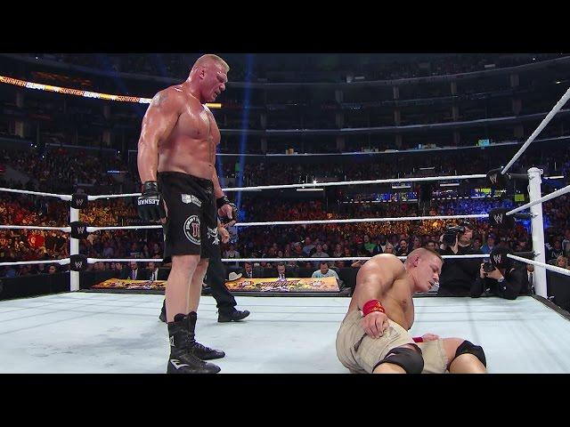 WWE Network: Brock Lesnar repeatedly suplexes John Cena: SummerSlam 2014