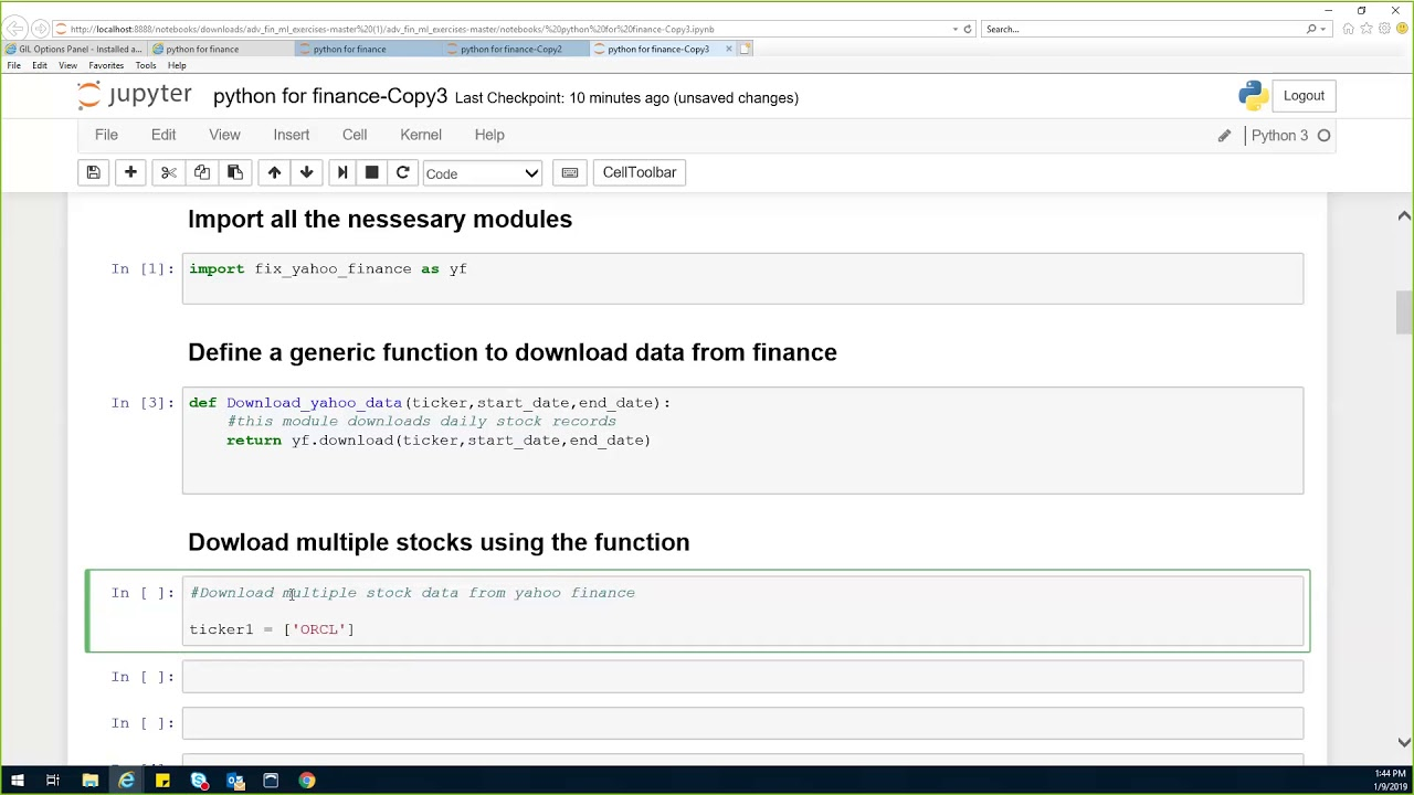Downloading multiple files from yahoo finance using python