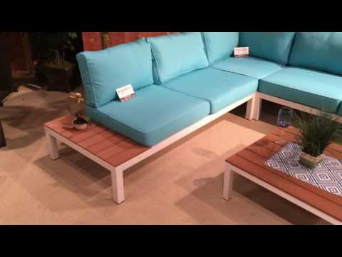 2580 Blue & White with Wood Outdoor Patio Sectional Sofa
