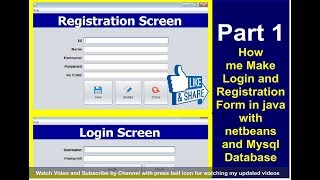 Java Project - Make Login and Register Form with source code Using NetBeans And MySQL Part 1