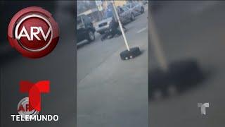Sacan a la fuerza a conductor de un auto por la ventana   Al Rojo Vivo   Telemundo