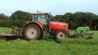 Massey Ferguson 7495 on Triples - Mowing for Silage.
