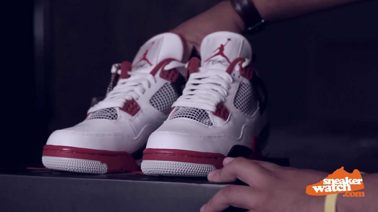03d1dcfa6d69ce Air Jordan 4 White Varsity Red 2012 Retro Review (Sneaker Watch) - YouTube