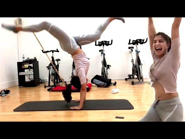 Fitness! Jacqueline Fernandez Amazing 90 Degree Body Turn| Jacqueline Home Workout During Quarantine