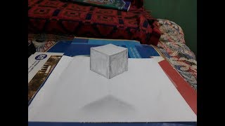 Draw a  Floating Cube || on paper || 3D Trick Art