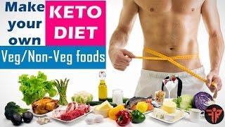 Indian keto diet for vegetarians, non-vegetarian, vegans, men/women. food list. full day sample plan fastest weight loss in hindi, india. ...