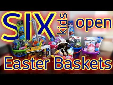6 KIDS OPEN EASTER BASKETS | AWESOME FAMILY OF 8