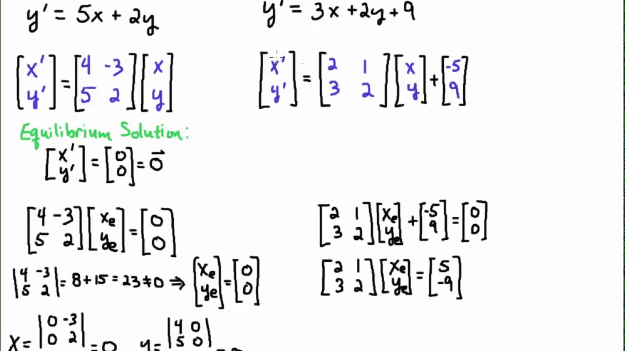 Convert Linear System of ODEs to Matrix Equation and