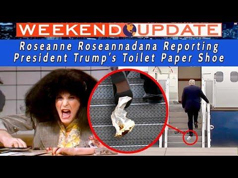 Trump's Toilet Paper Shoe - Roseanne Roseannadana Reporting